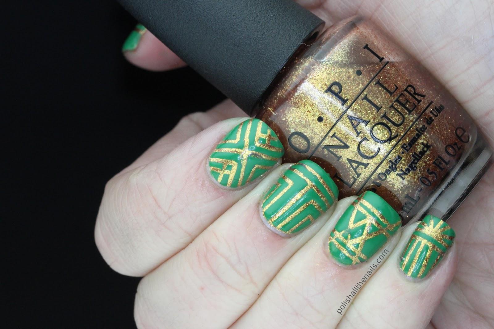 Nail Art Green And Gold Art Deco Nails