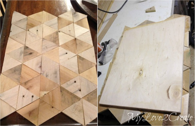 pallet wood glued to plywood