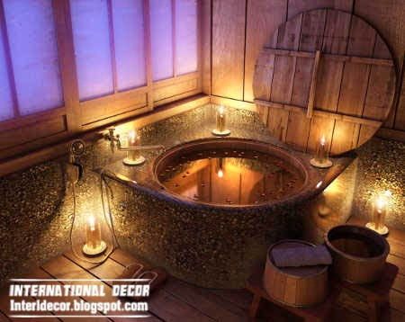 rustic bathtub, Rustic decor and furniture for small bathroom