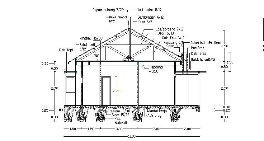 jasa desain rumah contoh gambar potongan vertical
