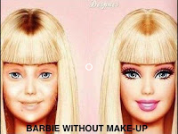 'Barbie without makeup' on the right is the classic face of a barbie, on the left she has no make up and looks dull, bland and is a lot less desirable.