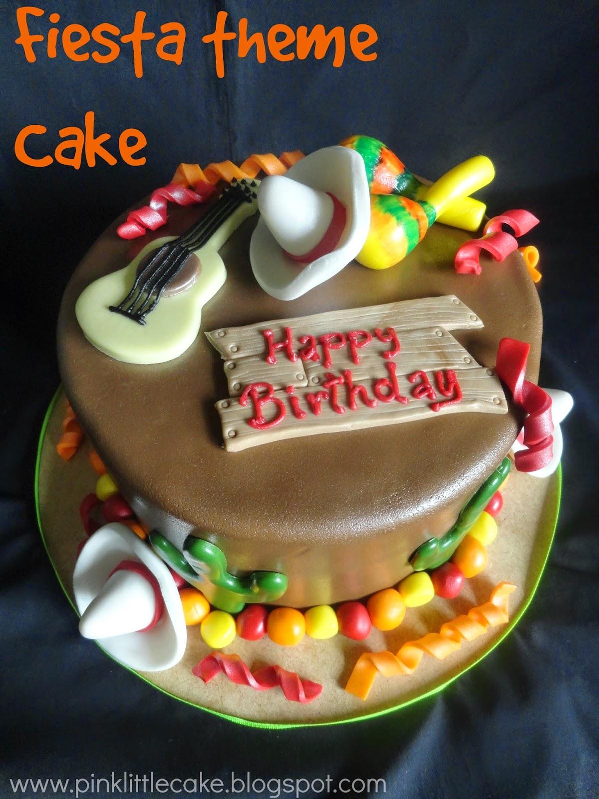 Pink Little Cake Fiesta Theme Cake