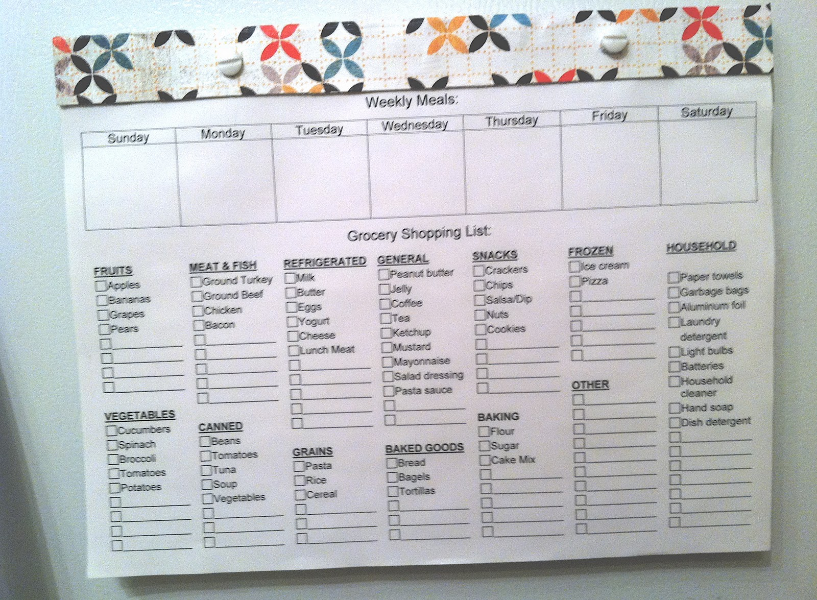 Weekly Meal Planner And Grocery List  Grocery List Examples