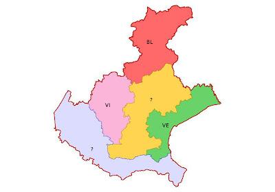 Immagine delle nuove province proposte per il Veneto
