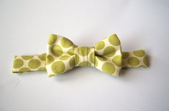 Lime Green Polka Dot Bow Tie Children Boys