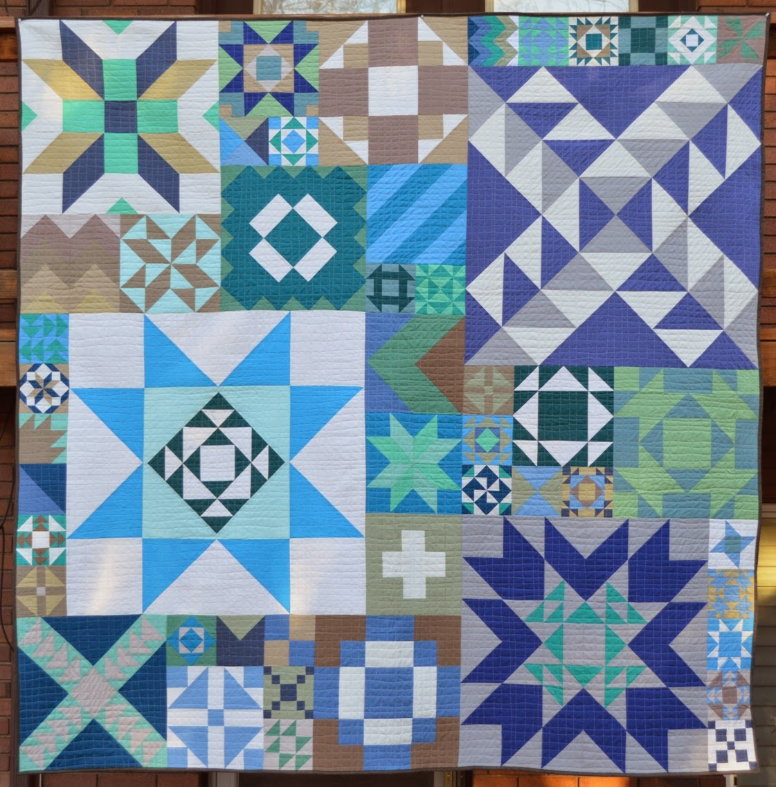 Happy quilting modern building blocks back to nature for Modern house quilt block