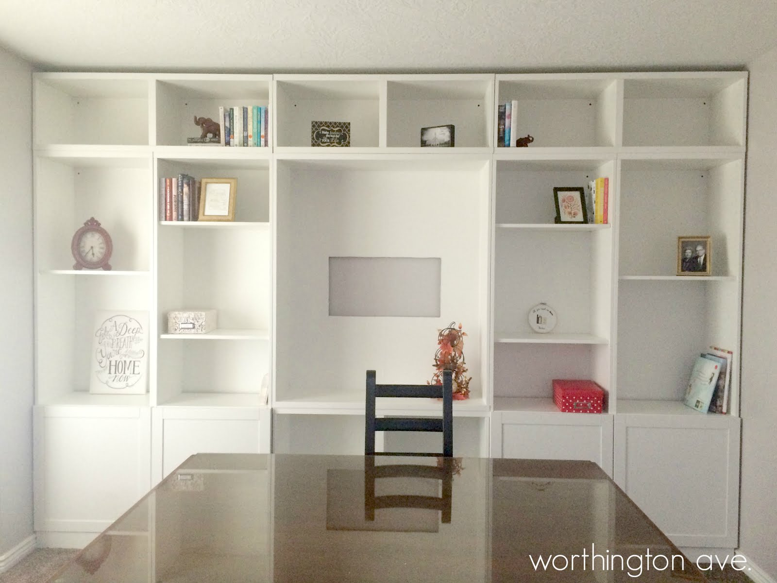 ikea hack built in library wall worthington ave. Black Bedroom Furniture Sets. Home Design Ideas