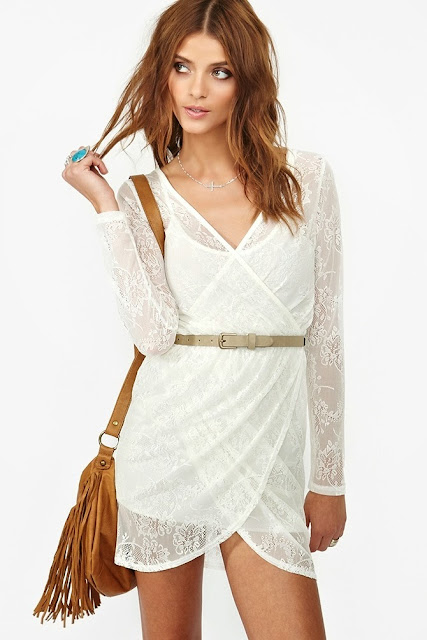 White Lace Wrap Dress With Belt