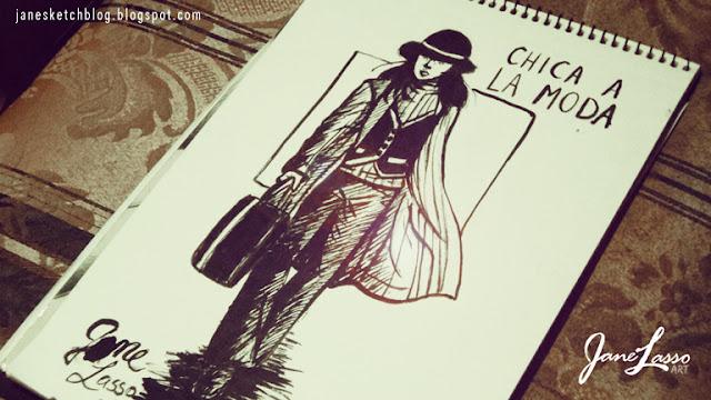 Dibujo entintado con pincel