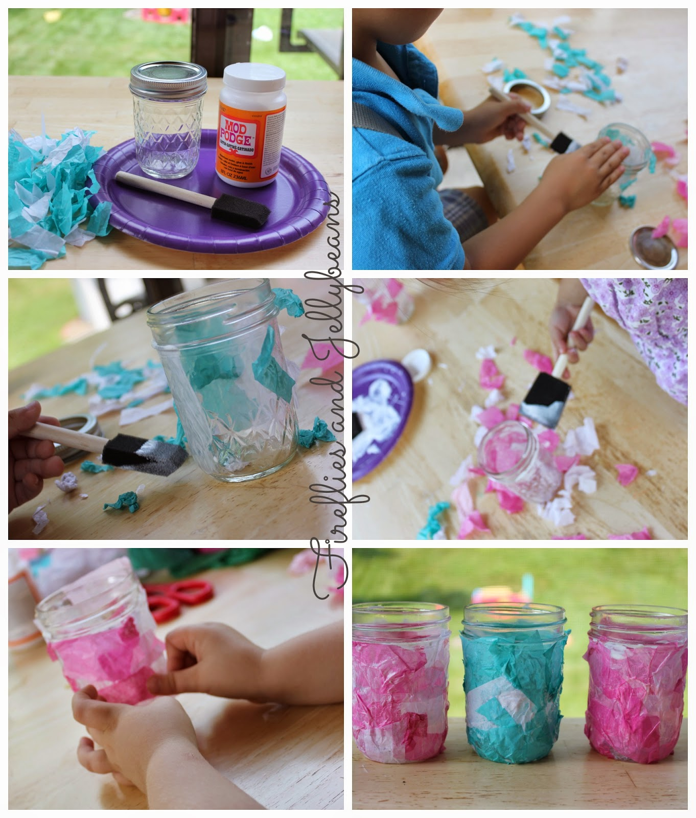 Fireflies and jellybeans easy summer kid 39 s craft tissue for Paper lantern tutorial