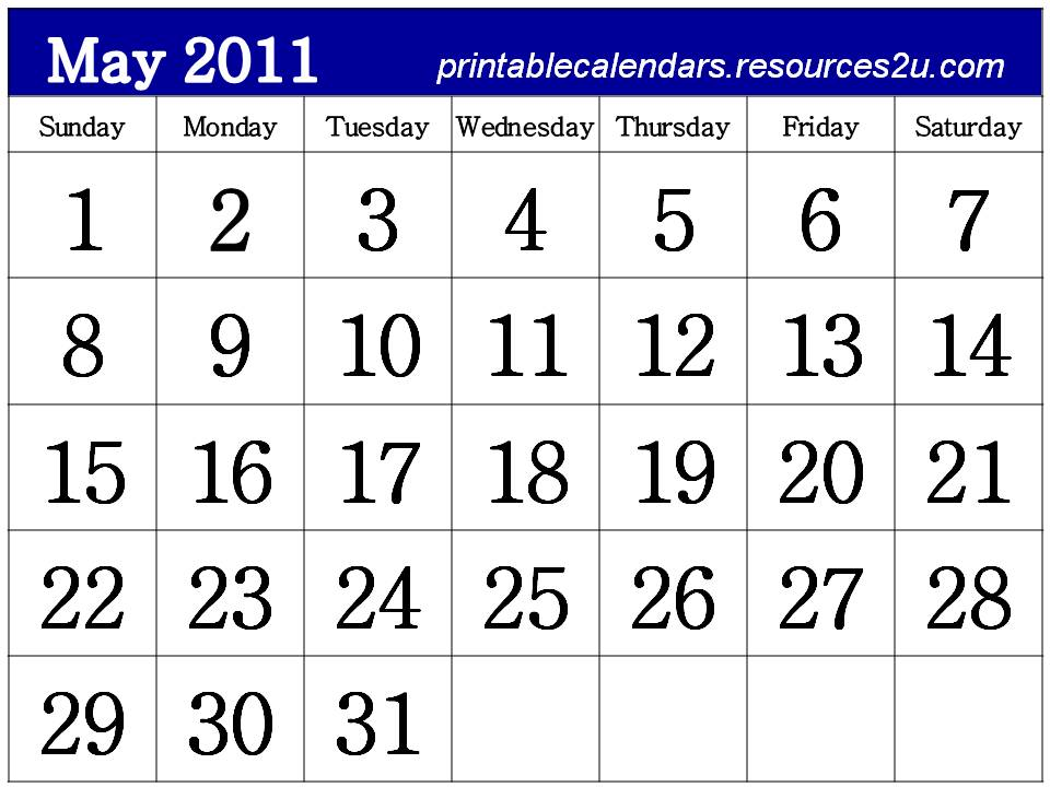 may calendar for 2011. Free Calendar 2011 May to