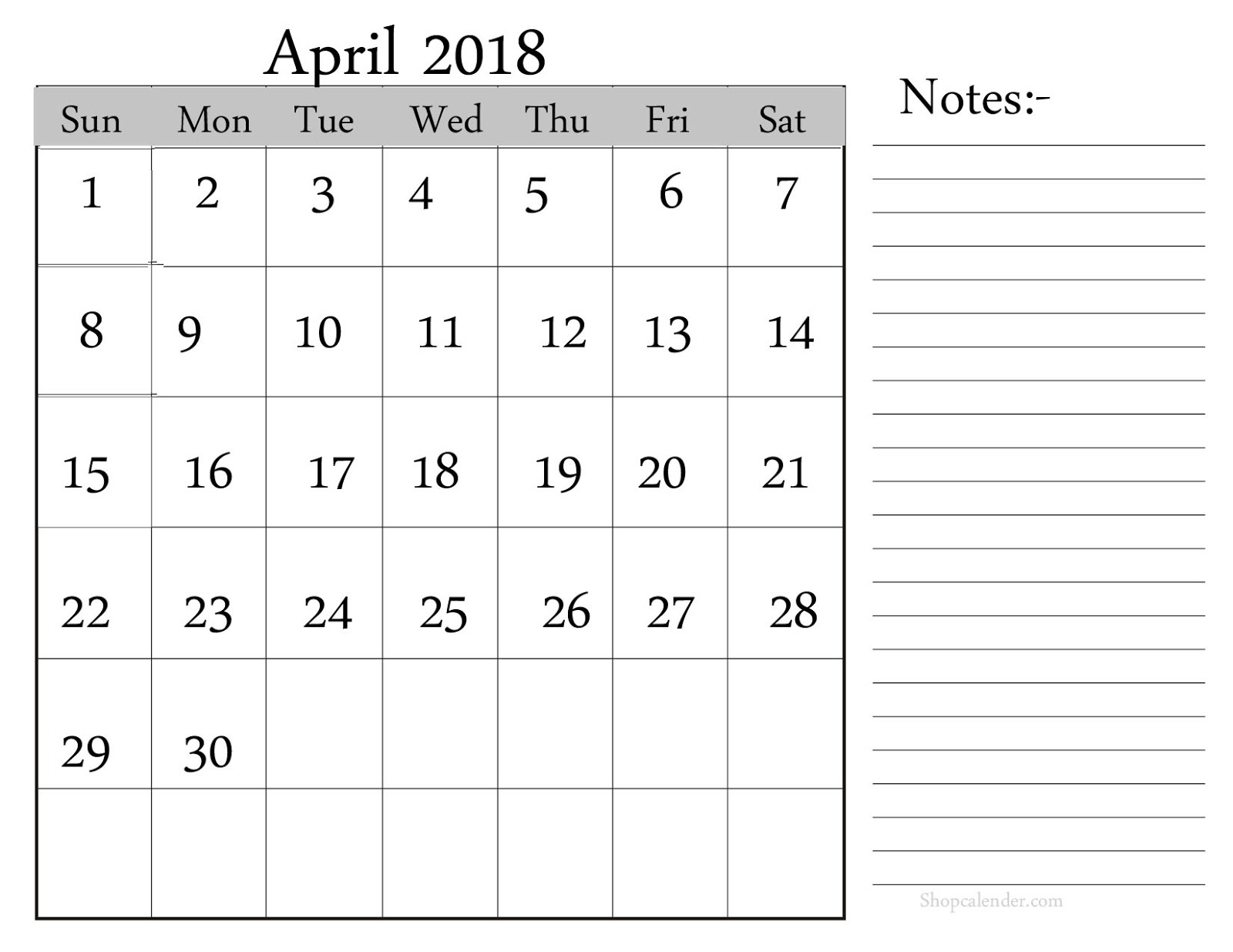 calendar with notes section