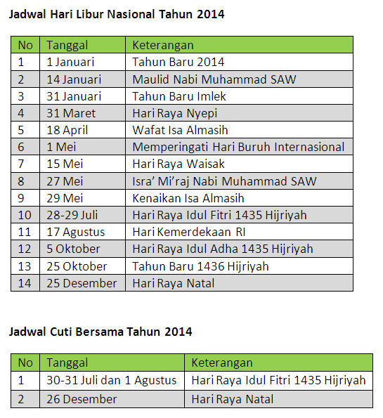 Jadwal Hari Libur Nasional dan Cuti Bersama 2014
