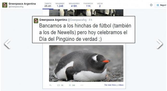Lo que faltaba! Greenpeace chicaneó a los hinchas de Newells por el día internacional del Pingüino.