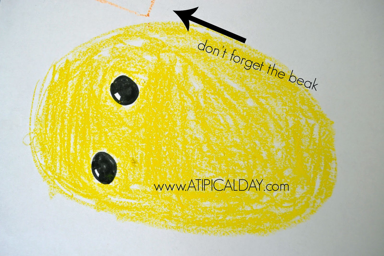 Childs drawing of a baby chick