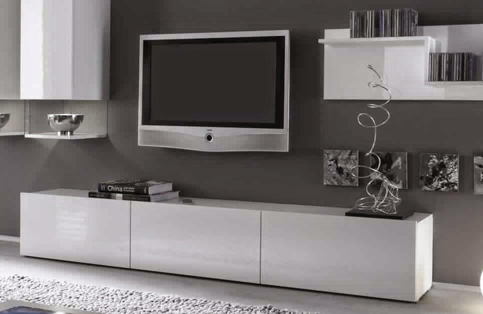 Meuble tv blanc laqu meuble d coration maison for Meuble mural laque blanc ikea