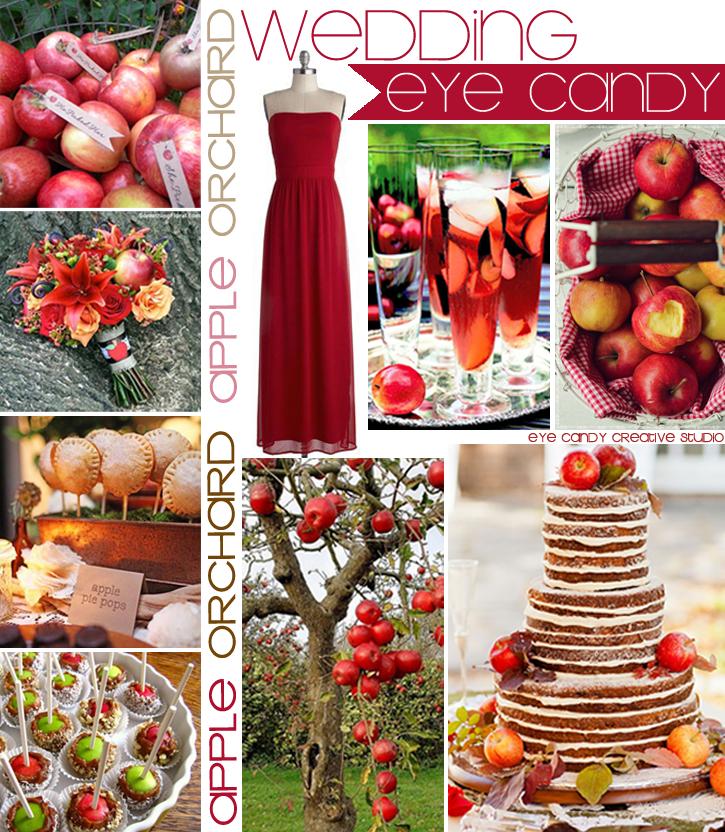 apple bar, apple pie pops, apple cake, apple bouquet, apple tags, red dress