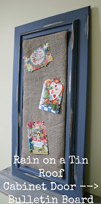Cabinet Door turned Bulletin Board {rainonatinroof.com} #bulletinboard #organization #door #cabinet #DIY