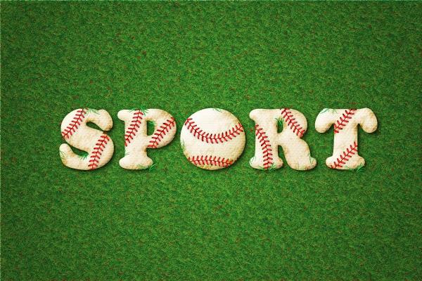 Texto con efecto de pelota de béisbol