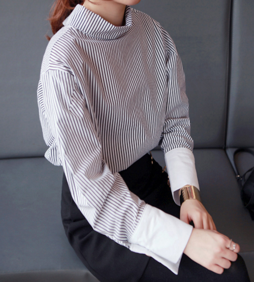 Striped High Neck Shirt