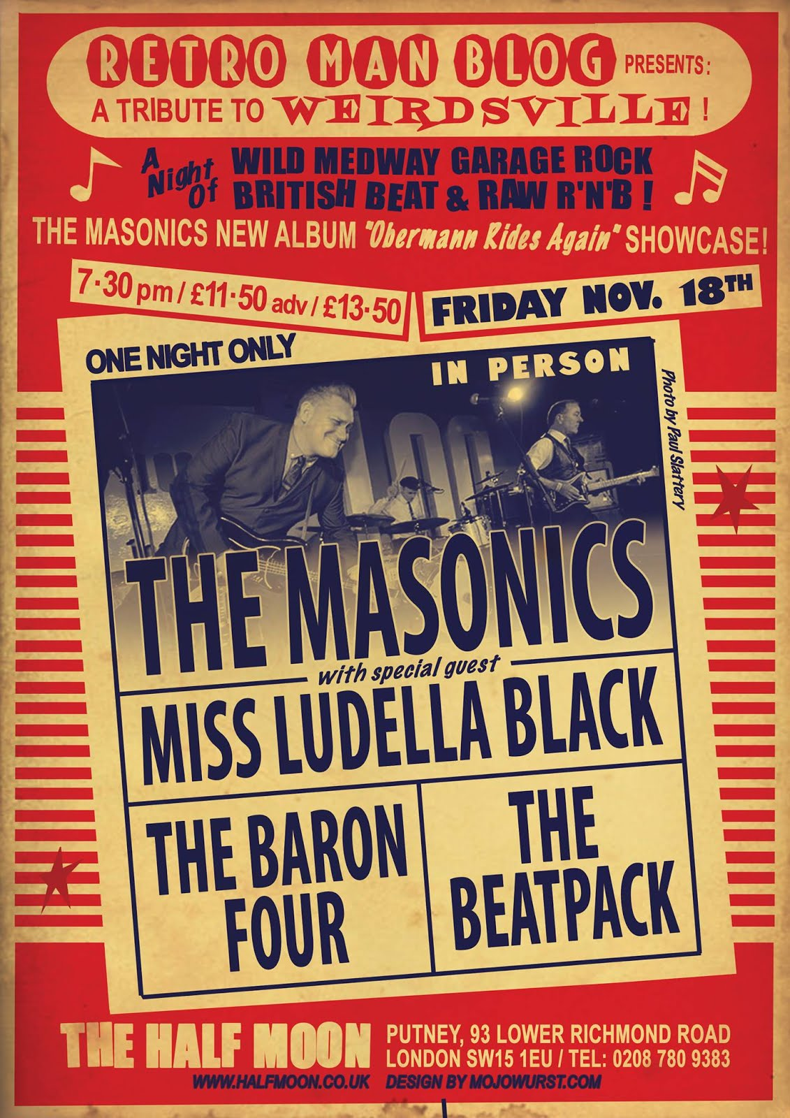 The Masonics + The Baron Four + The Beatpack at The Half Moon Putney on Friday November 18th