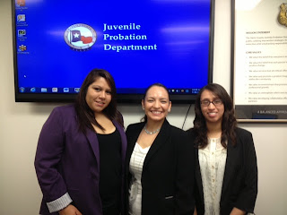 Interns Iveth Salinas (l) and Jocelyn Garmendez (r) pose with their supervisor at Harris County Juvenile Probation.