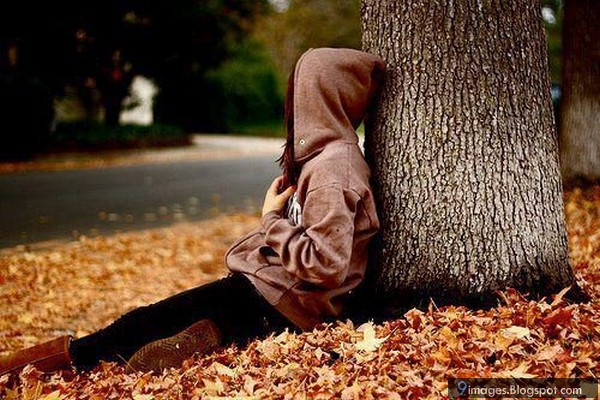 Alone girl waiting someone sad broken heart tree