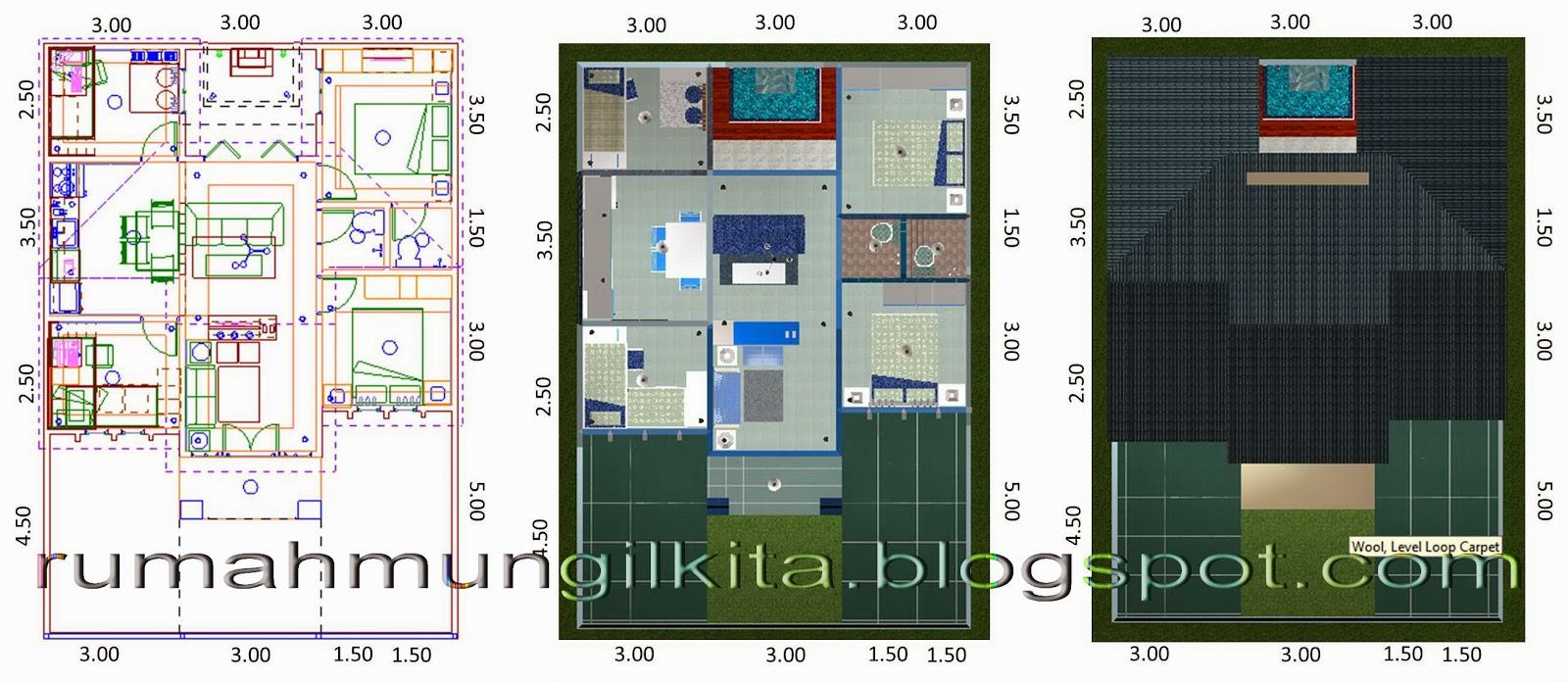rumah mungil minimalis bernuansa biru tipe 70 4 kamar tidur denah 2 dimensi