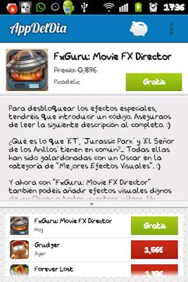 Captura de pantalla, de la aplicación de Android, La app del día.