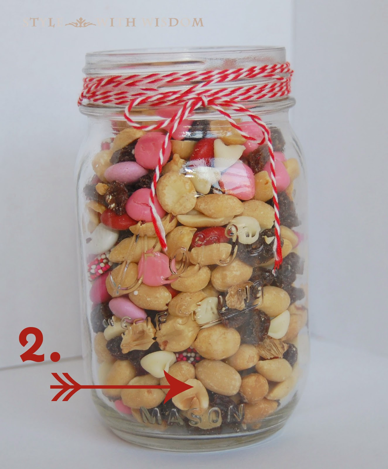 Valentine's Day Gift Basket Tutorial trail mix in mason jar