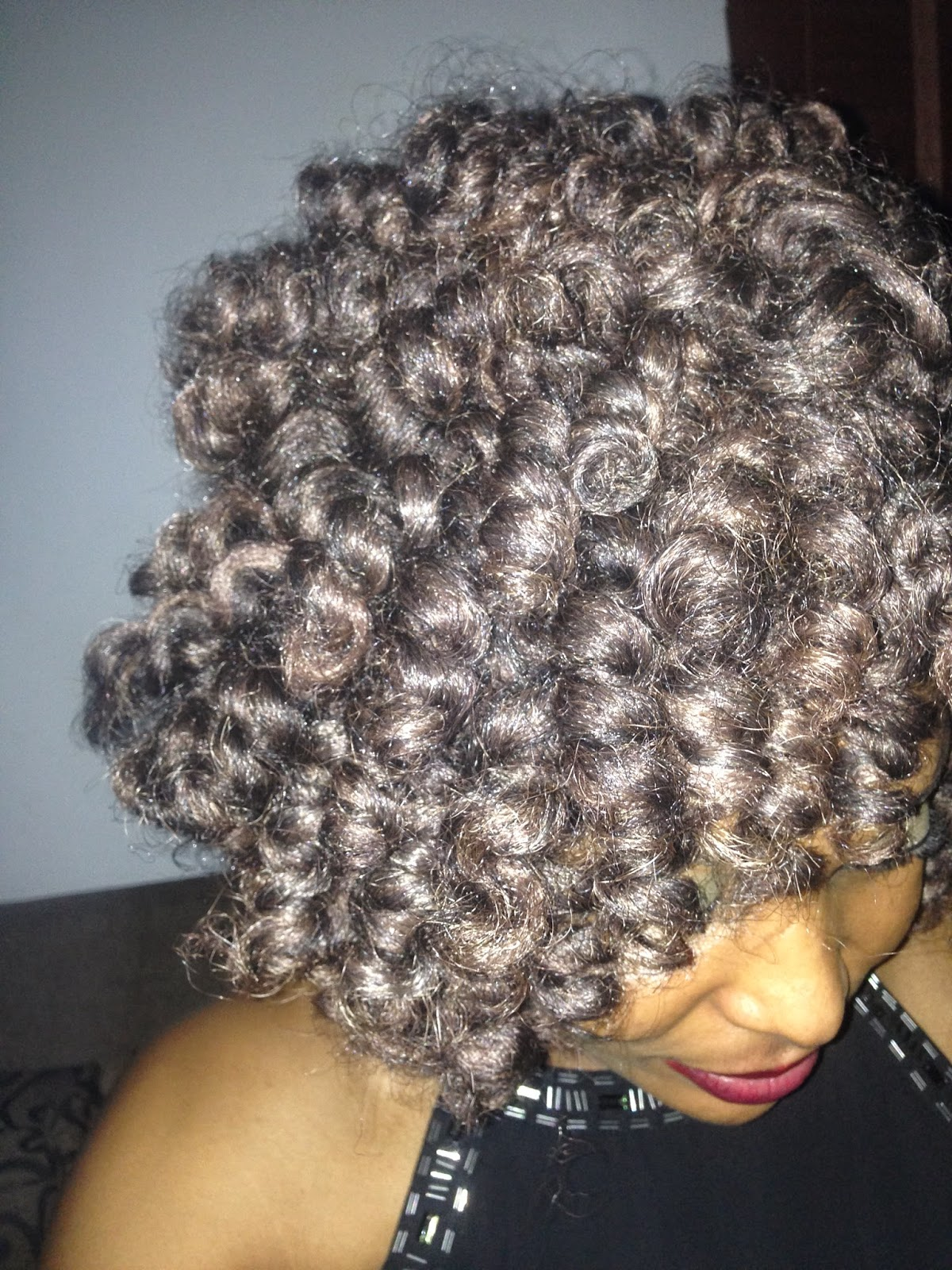 Crochet Hair Rods : Crochet Braids curled with small perm rods
