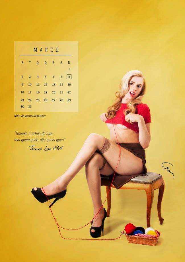 Trans viram pin-ups para calendário - Março