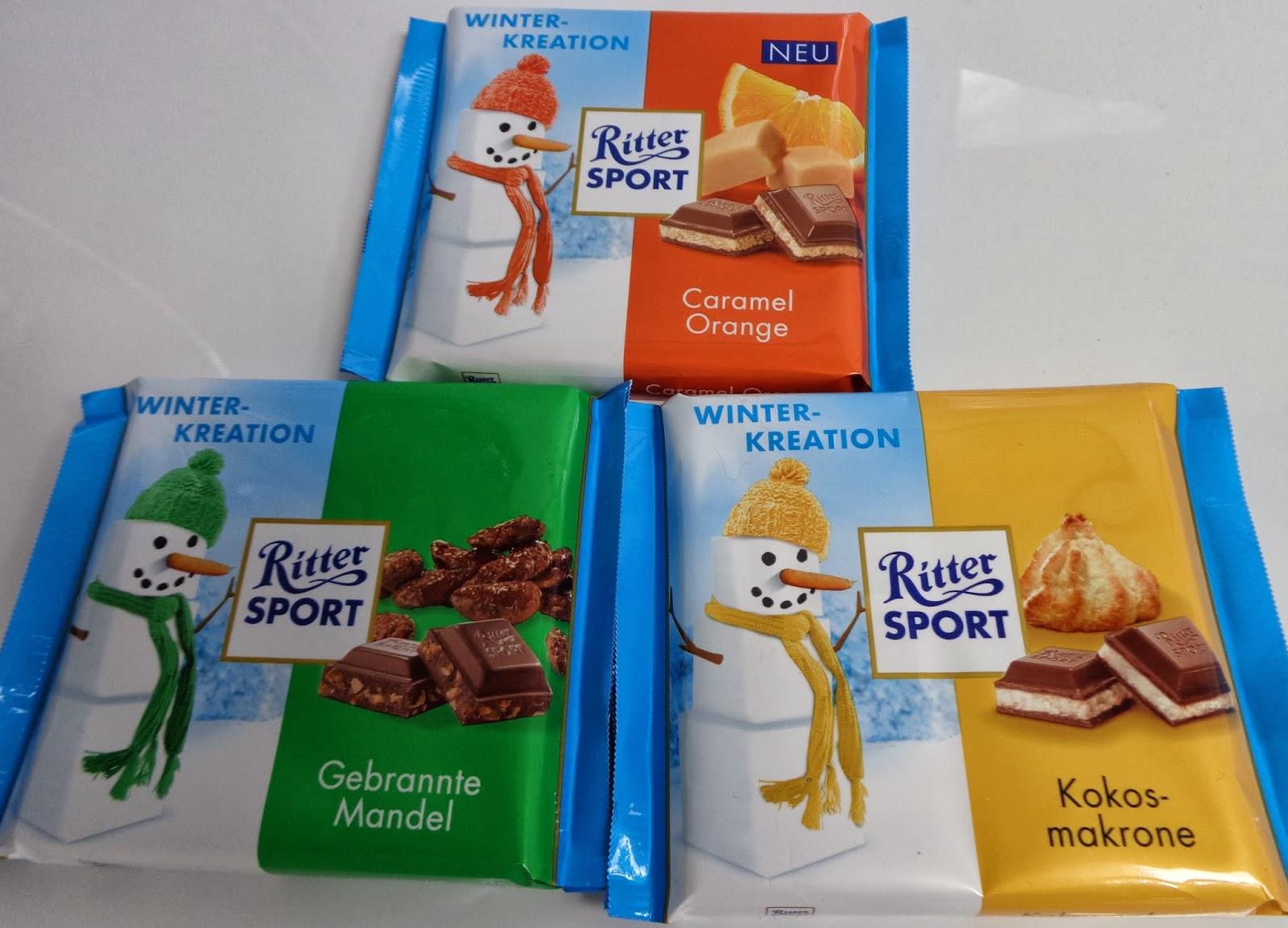 Ritter Sport Wintersorten; Kokosmakrone; Caramel Orange; Gebrannte Mandel