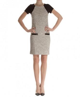 koton likralı elbise, kemerli blok renk omuz detaylı siyah elbise