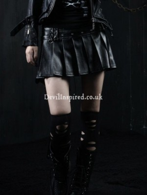 Black Leather Punk Rock Skirt for Women