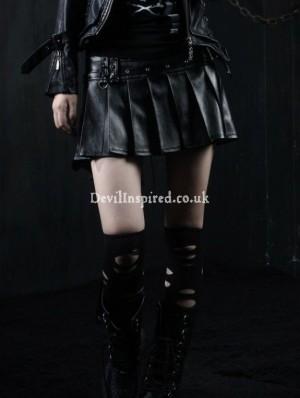 Black Leather Punk Rock Skirt for Women