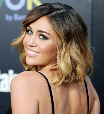 Model Rambut Sebahu dengan Aksen Ombre Ala Miley Cyrus
