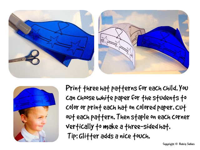 Sweet tea classroom presidents day hat paper craft washington hat pattern pronofoot35fo Image collections