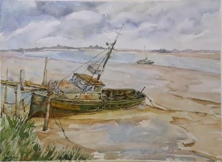 Barco abandonado acuarela