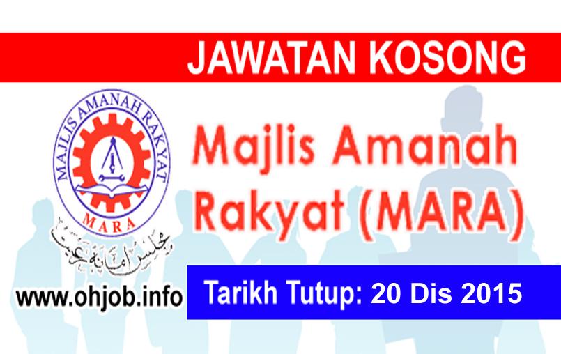 Jawatan Kerja Kosong Majlis Amanah Rakyat (MARA) logo www.ohjob.info disember 2015