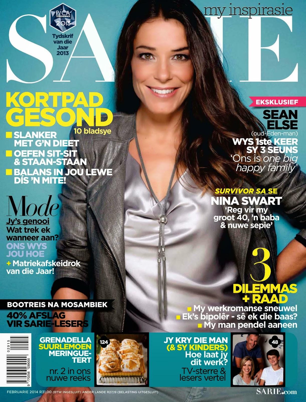 Magazine cover : Nina Swart Magazine Photoshoot Pics on SARIE Magazine February 2014 Issue