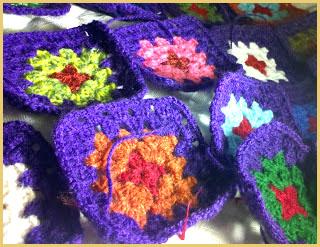 Cuadrados tejidos al crochet