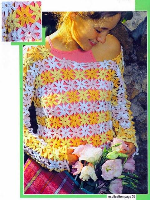 Bella blusa primaveral de mangas largas tejida al crochet con patrones