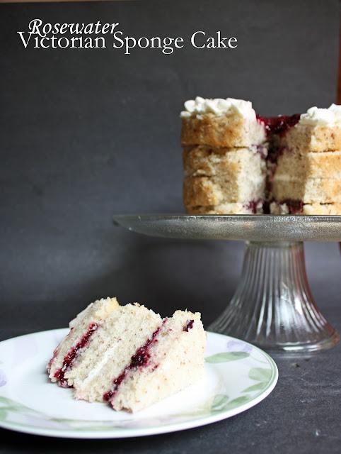 rosewater victorian sponge cake