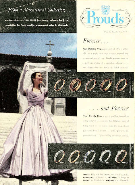1950s summer bride magazine wedding dress ring