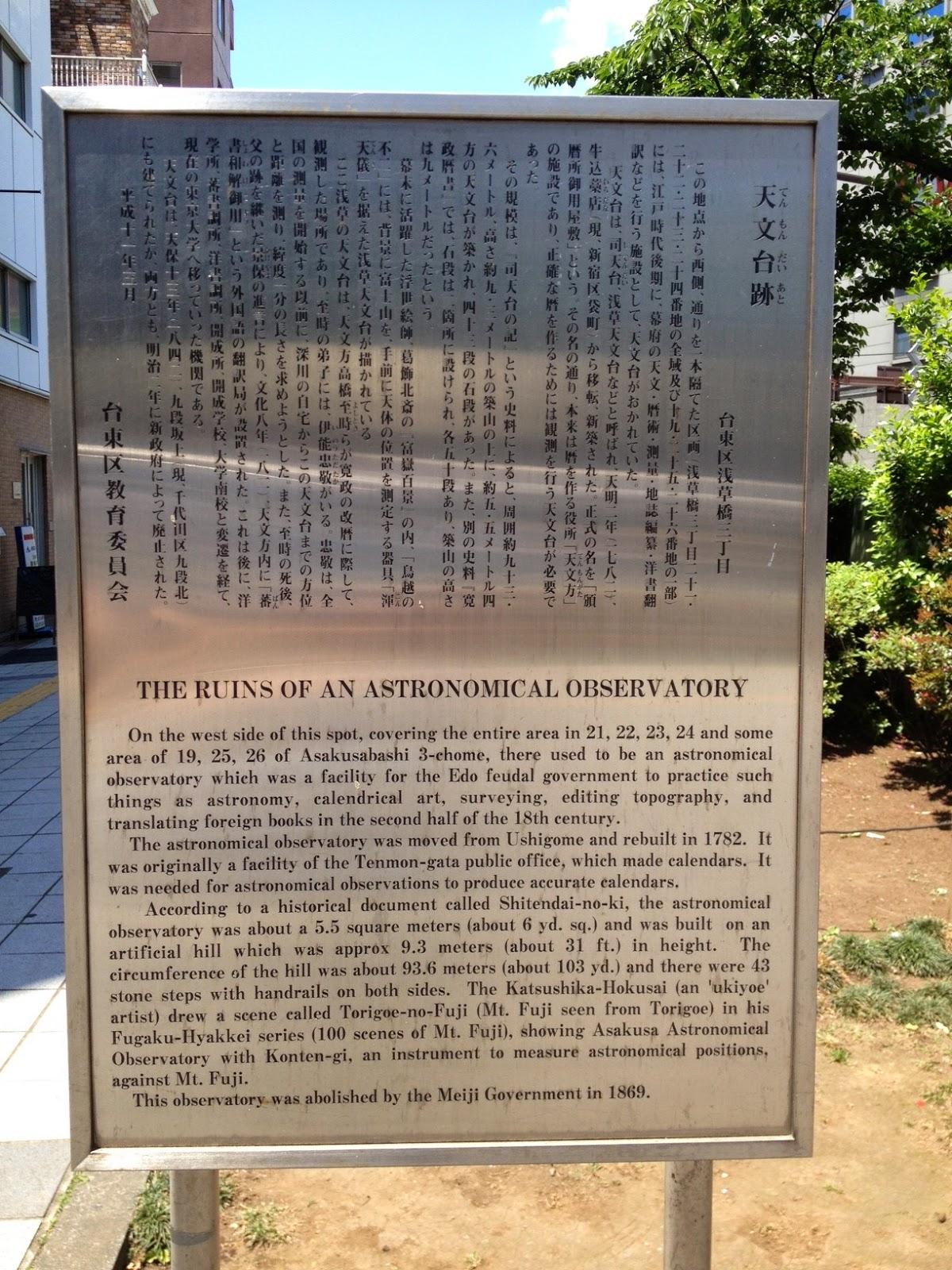 Asakusa Observatory signboard, Asakusabashi, Taito-ku, Tokyo.