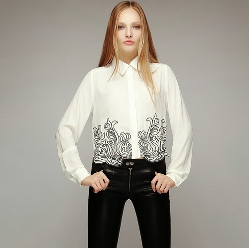 Swirl Trim Embroidery Blouse