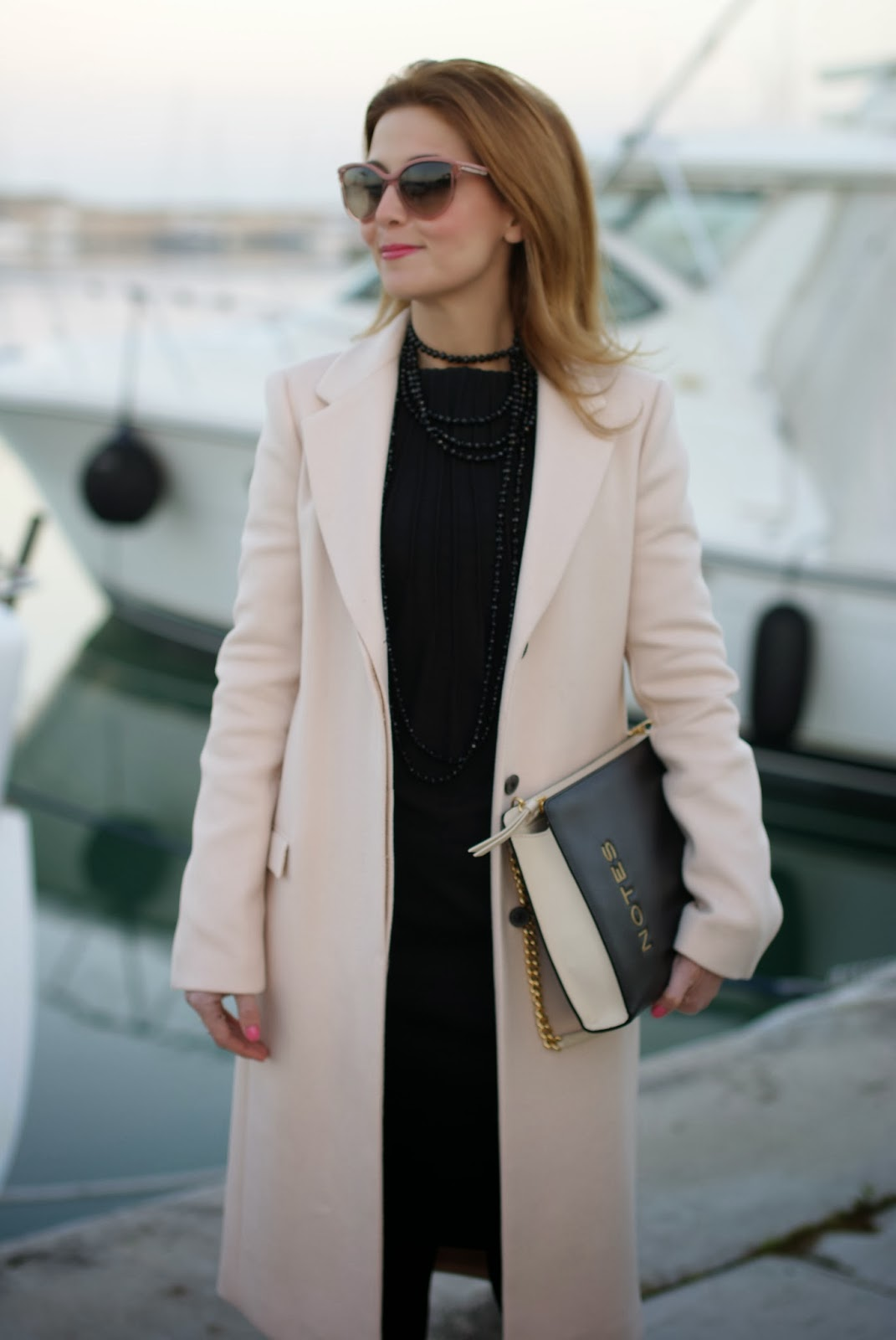 zara pink coat, pink coat, cappotto rosa zara, moschino notes bag, fashion and cookies, fashion blogger