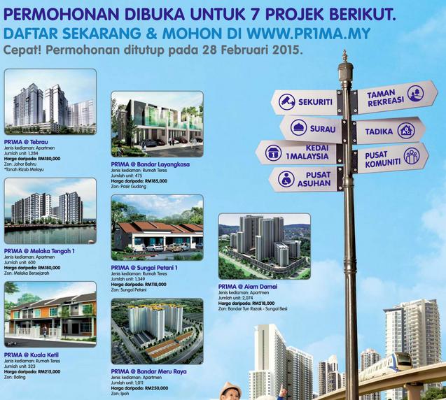 Tarikh Tutup Permohonan Online Rumah PRIMA 2015 7 Projek di Kuala Lumpur Perak Johor Melaka