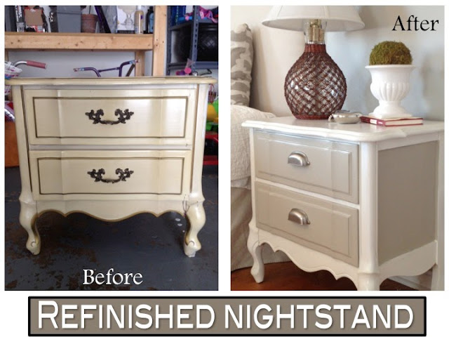 Two It Yourself Refinished Nightstand In Diy Chalk Paint Before And After Photos